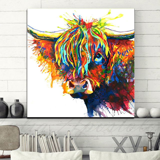 SELFLESSLY Watercolor Highland Cow Animal Oil Painting Canvas Art Print Poster Print For Living Room Wall Decorative Pictures
