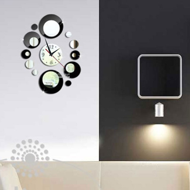 1 piece of wall clock wall mirror sticker clock acrylic home decoration removable round wall clock sticker wall sticker home dec