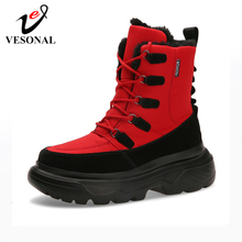 VESONAL 2019 Winter platform Snow Men Boots Shoes Waterproof With Fur Plush Warm Male Casual Hip Hop Mid-Calf Boot Sneakers
