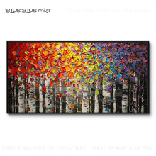 Excellent Artist Hand-painted Abstract Modern Birch Knife Painting Thick Paints Abstract Landscape Birch Knife Acrylic Painting