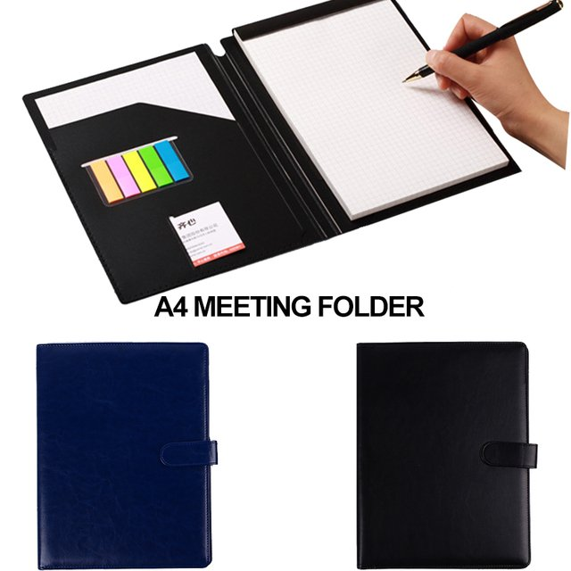 A4 Document Folder PU Leather A4 File Holder Manager A4 File Folder Meeting Folders Office Convenient Tools