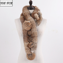 2020 Hot Sale Winter Real Rabbit Fur Scarf Women Natural Real Rabbit Fur Ring Scarves 2 Balls Genuine Rabbit Fur Neckerchief