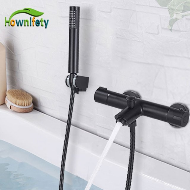 Black Chrome Bathtub Faucet Thermostatic Body Concealed Shower Set Wall Mount Shower Hot  Cold Brass Mixer Tap Bath Shower