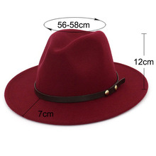 Fedoras fashion wide brim autumn female top hat wool jazz cap winter hat for men wool hat couple hat  fedora hat for woman