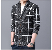 Autumn and winter men's casual cardigan sweater coat thick square long sleeve sweater XF720