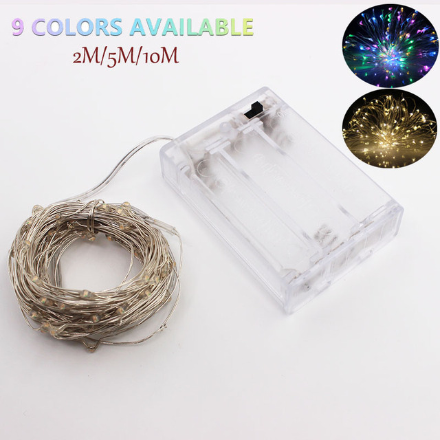 20 50 100 led battery LED String Lights outdoor fairy lights luces led decoracion Silver Wire for Christmas Wedding 9 colors
