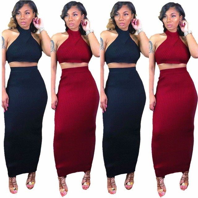 European style crop top and maxi skirt set summer halter knitted bodycon 2 pieces outfits for women DL5043