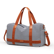 Canvas Striped Travel Bag Women's Travel Bags Hand Luggage Organizer Travelling Bags and Luggage for Women Weekend Duffle Bag