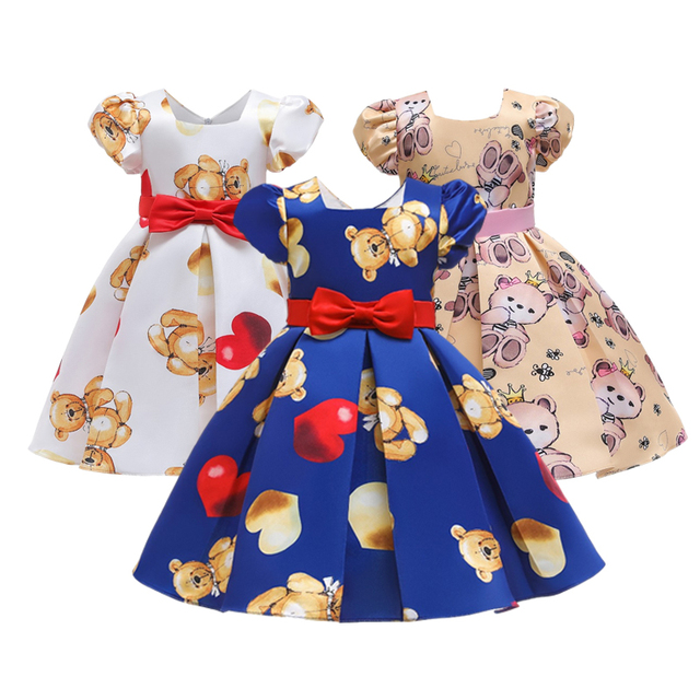 Girls Dress Tollder Kids Printed Wedding Vestidos Clothes Princess Christmas Costume Party Dresses Children Clothing Infantil