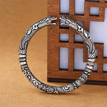 New Double Dragon 925 Sterling Silver Bracelet Adjustable Bangle Jewelry Genuine