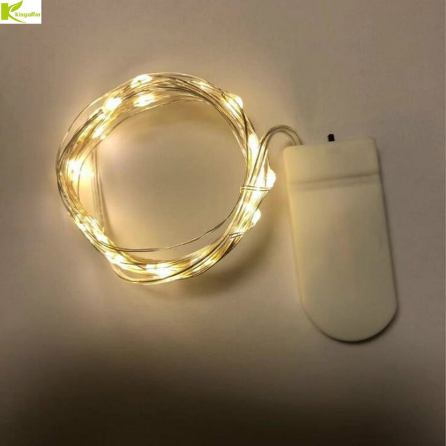 CR2032 Button Battery Powered 2M 20 LED Micro Silver Wire LED String Fairy Lights For Christmas Party Wedding Decoration