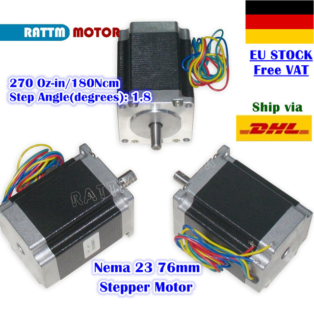 [EU Delivery/Free VAT] 3Pcs Nema23 76mm Stepper Motor 270Oz-in 3A CNC Stepper Motor for CNC Milling Machine Router