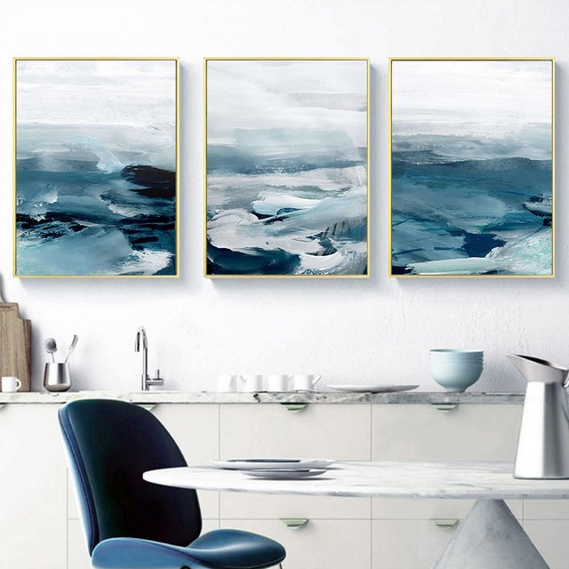 Canvas oil painting abstract wall marine minimalist landscape oil painting nordic painting print living room decorative painting