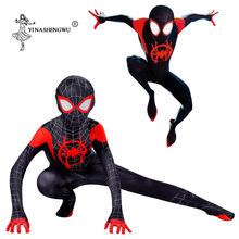 Spider-Man Kid Spider-Verse Miles Morales Cosplay Costume Zentai Adult Spiderman Pattern Bodysuit Jumpsuits Halloween Costume