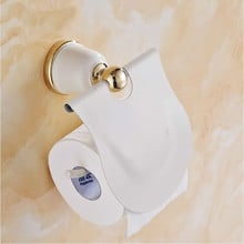 European Style Grilled White Paint Gold Plated Toilet Paper Holder Copper Towel Rack Vintage Paper Roller Toilet Paper Box 1903A