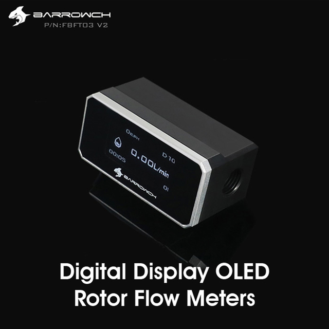 Barrowch FBFT03-V2, Digital Display OLED Rotor Flow Meters, Multiple Colour Aluminum Alloy Panel + POM Body, Real-time detection