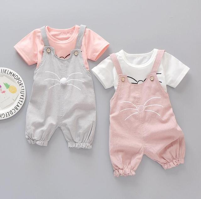 1 set girls Summer outfits 6m 12m 2T 3T Toddler kids baby girls outfits cotton Tee+Shorts Pants rompers clothes cute