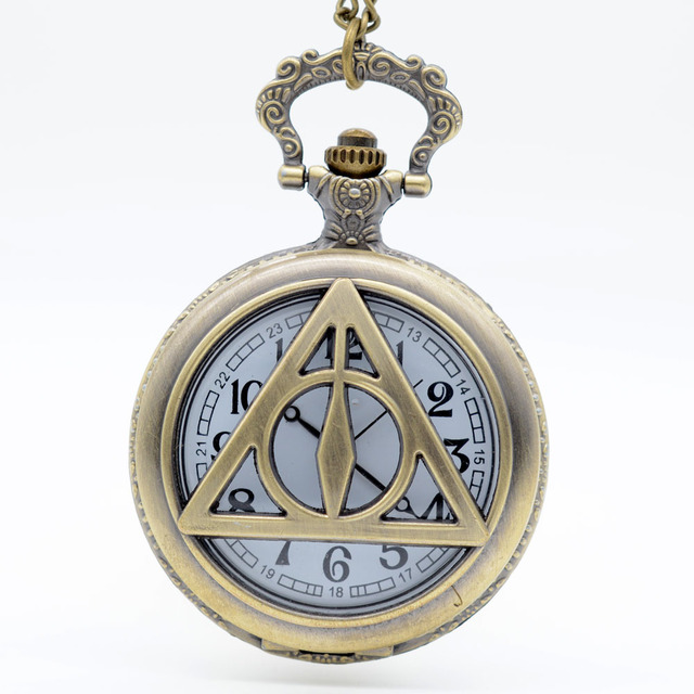 Bronze HP and the Deathly Hallows Hollow Quartz Pocket Watch Analog Pendant Necklace Mens Womens Watches Gift
