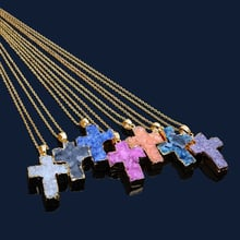 2020 Pop cross natural stone necklace pendant sweater chain edging natural stone necklace fashion crystal sweater chain
