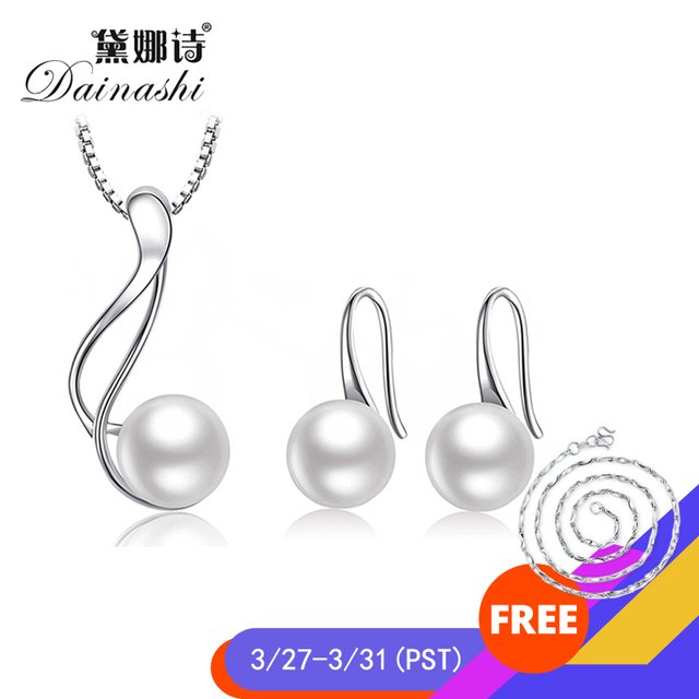 Dainashi Elegant 925 Sterling Silver AAAA Freshwater Cultured Pearl Jewelry Set 8-9 mm Pearl Pendant Necklace Pearl Earrings Set