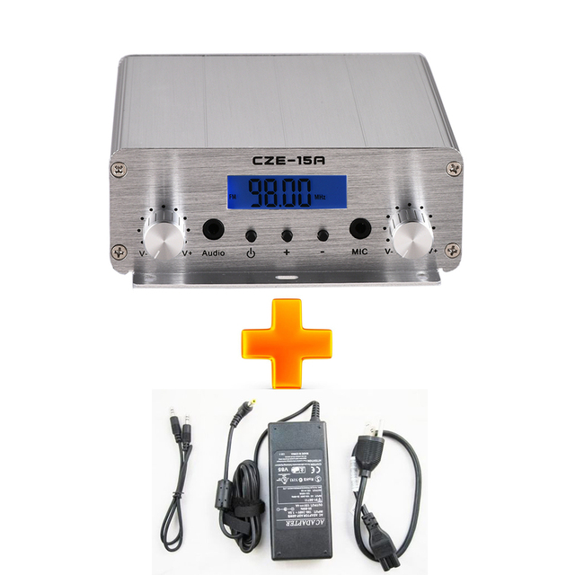 CZE-15A FU-15A CZH-15A 15W 15watts FM Radio transmitter + Power+ Audio Cable for Radio Station broadcast