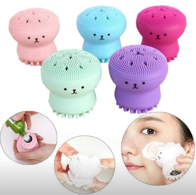 Jellyfish Face Wash Brush Exfoliating Facial Cleanser Brush Massage Soft Silicone Skin Care Tool Scrubber Blackhead Acne Brush