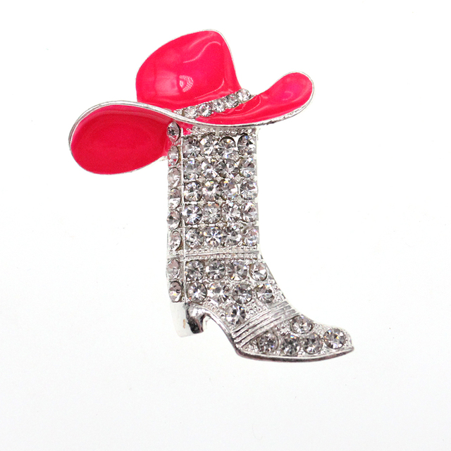 Fashion Two color Pink and Red high-heeled shoes rhinestone brooch