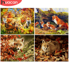 HUACAN Coloring By Number Fox Animal Handpainted Wall Art Pictures By Number Drawing Canvas Acrylic Gift Home Decor