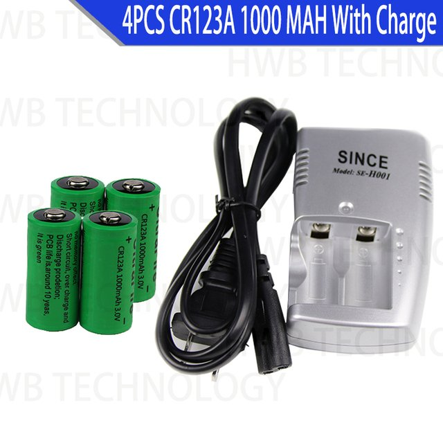 4X 16340 1000mah 3v cr123a 16340 rechargeable battery 3.0v rcr123a 16340 batteries lithium + 1pc 3.8v charger battery