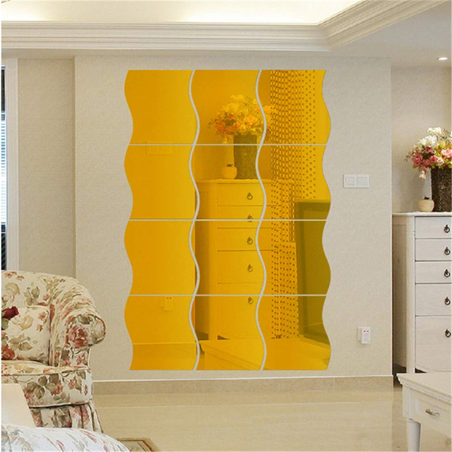 6/12PCS 3D DIY Mirror Wall Sticker Wave Acrylic Mural Decal Removable Stickers Living Room Decoration Wall Decal Art Home Decor