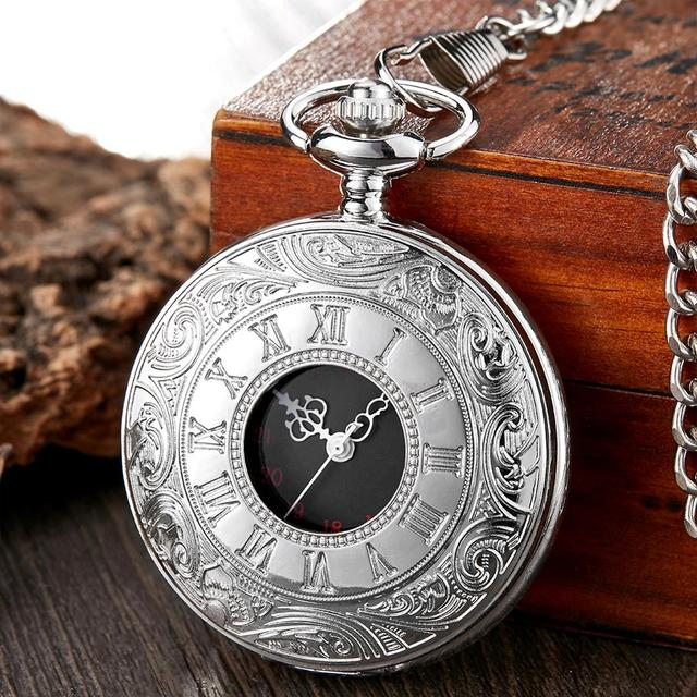 Retro Bronze Vintage Pocket Watch Necklace Chain Pendant Black Antique Steampunk Mens Quartz Pocket Watches Relogio De Bolso