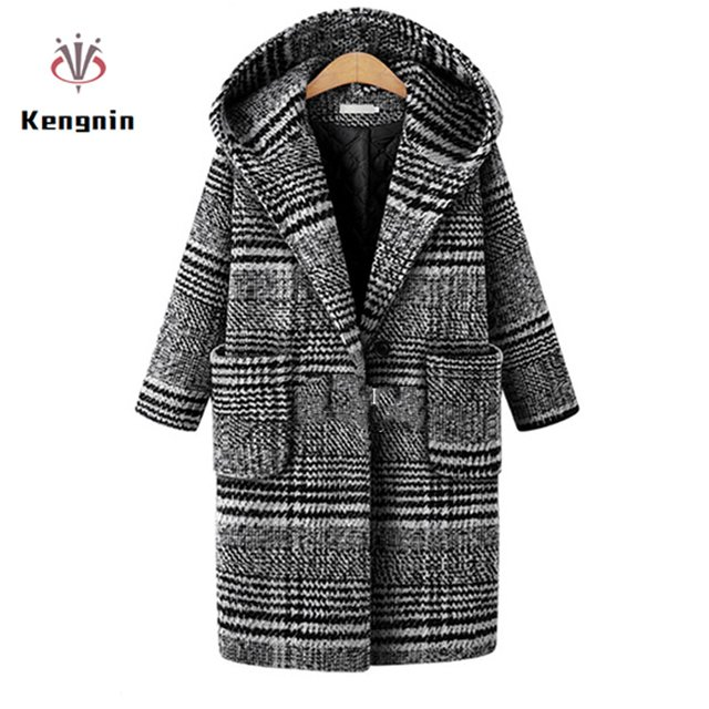 European Style 2020 Women Winter Jacket Plaid Wool&Blends Thick Ladies Basic Coats Hooded Plus Size 5XL Outerwear Brand Jacket