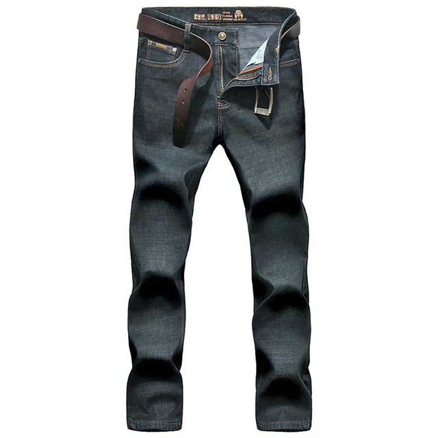 Warm Fleece Jeans Men Smart Casual Denim Pants Straight Loose Trousers Soft Lining Male Clothes