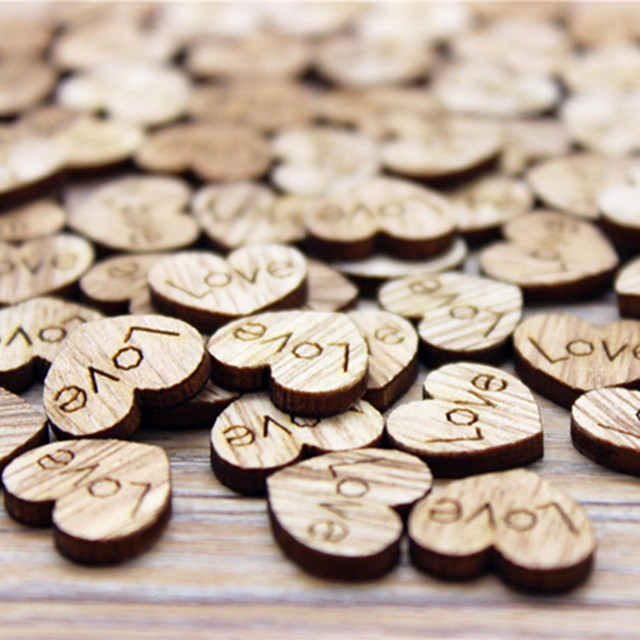 100pcs Love Heart Shape Wood Wooden Craft Christmas Wedding Home Decor DIY Birthday Decoration Party Favor Scrapbooking