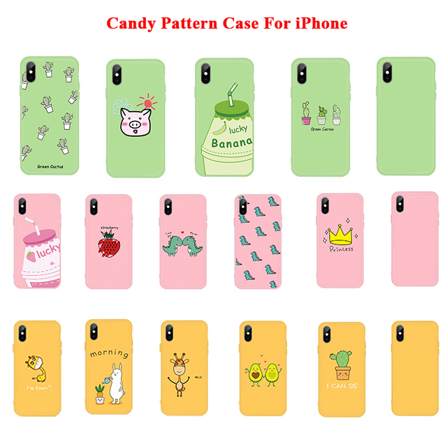 Simple Candy Color Cute Soft Case For iPhone11 Pro XR X XS Max 6 6S 7 8 Plus Fashion Pattern Case For iPhone 11 2019 Cover Coque