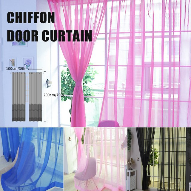 Curtain Pure Color Tulle Door Window Curtain Drape Panel Sheer Scarf Valances  Living Room Curtains Door Window