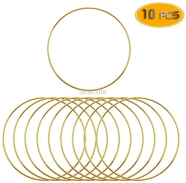 10pcs Metal Dream Catcher Dreamcatcher Ring Macrame Craft Hoop DIY Wedding Wind Chime Hanging Decorations Accessory 35-190mm
