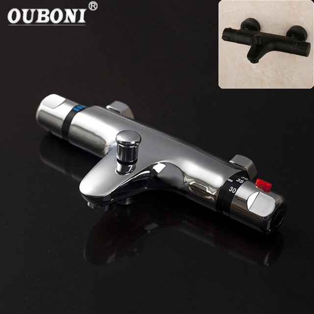 OUBONI Thermostatic Shower Wall Mounted 2 Handles Faucet Spout Filler Diverter Black & Chrome Bathtub Valve Faucet Mixer Tap