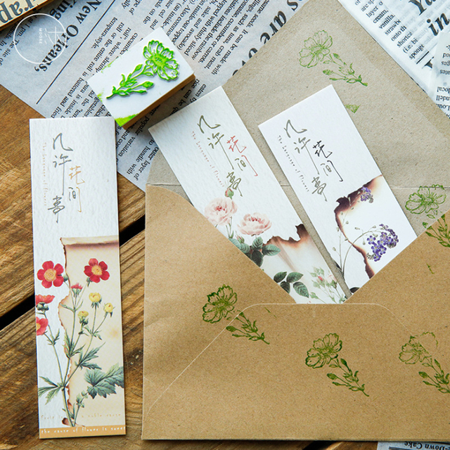 10sets/lot Flowers Among Retro Paper Bookmark Stationery School Supplies Papelaria Plant Bookmarks