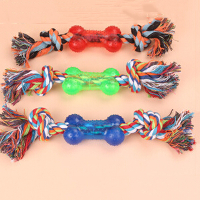 Plastic Short Bone Style Dog Rope Toys Dogs Grind Teeth Toys Pet Cotton Rope Chew Toys Dog Chew Toys Pet Supplies