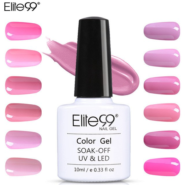 Elite99 10ML Pink Series LED Lamp Nail  UV Curing Gel Polish Gel Soak Off Nail Art Decorations 1 Piece Acrylic Nail Long Lasting