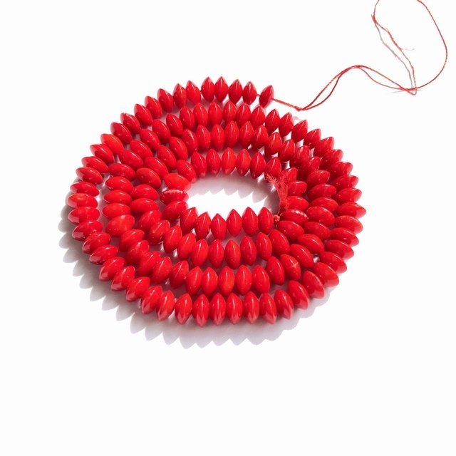 """Red Coral Beads 1 strand  3x5 mm Roundel Red Coral Jewelry Beads 15""""/strand"""