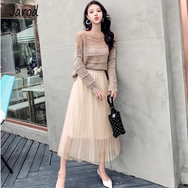New 2019 Autumn Women Fashion Elegant Two Piece set Loose Pullover Knitted Sweater+Mesh pleated Long Skirt Sets