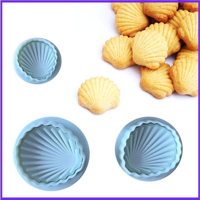 3PCS/ set Shell Shape Spring Cookie Tools Plastic Plunger Cutters Biscuit Paste Sugar Press Molds Cake Decorating Tool