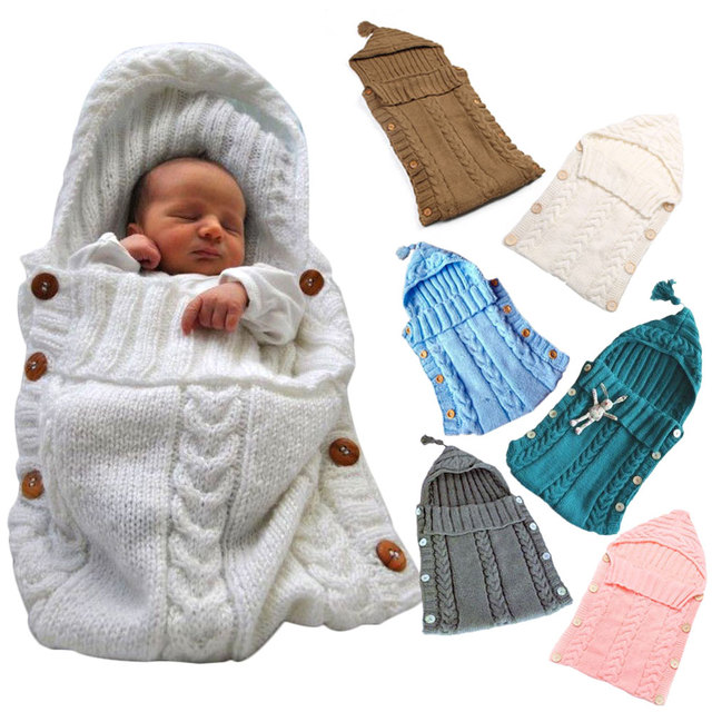 Autumn Winter Infant Stroller Warm Sleeping Bag Outdoor Button Baby Stuff Knitted Crochet Thick Newborn Wrap Blanket Xmas Gift