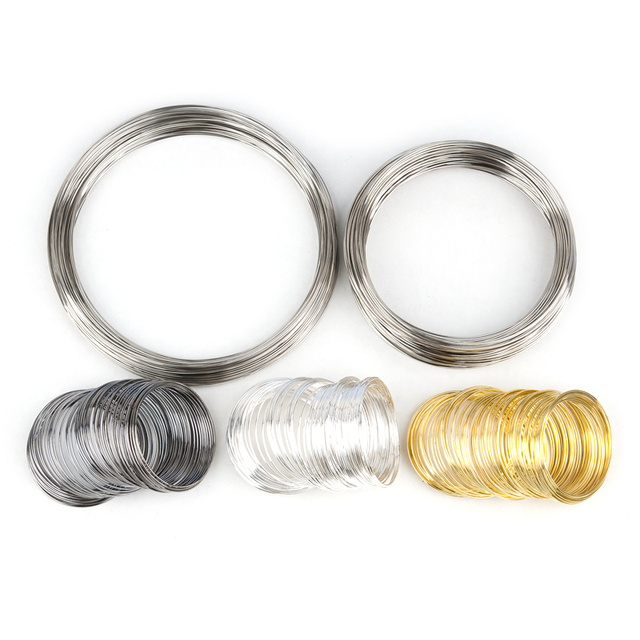 100 Loops Doreen Box Memory Beading Steel Wire Gold Silver Color For DIY Necklace Bracelet Jewelry Making 140mm - 50mm Dia.