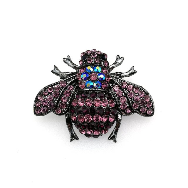 Free Shipping 50mm Rhinestone dark purple bee Brooch Insect Brooch For clothes decoration