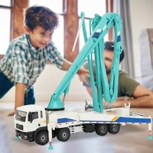 Alloy Diecast Concrete Pump Truck 1:55 19.9in Folding Pipe 4Telescope Stand Construction Truck Model Collection Gift for Kid Toy