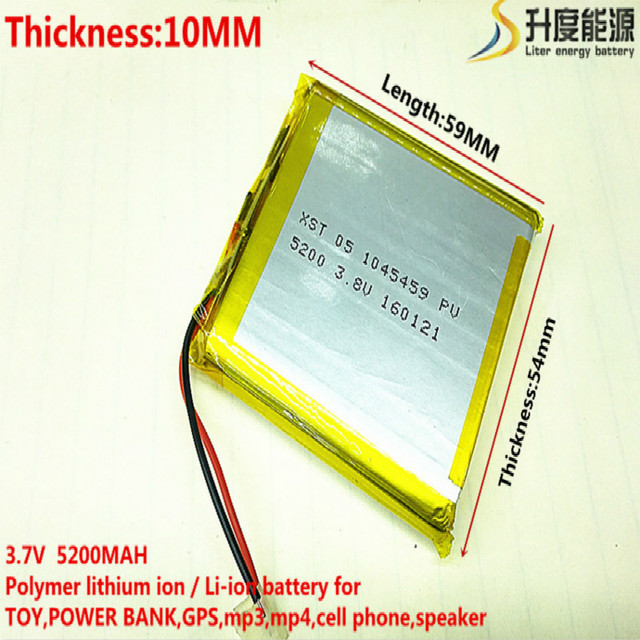 3.7V 5200mAh 105459 Lithium Polymer Li-Po li ion Rechargeable Battery cells For Mp3 MP4 MP5 GPS  mobile bluetooth