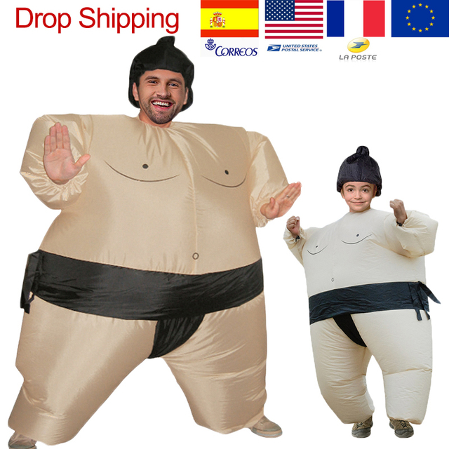 Child Kid Inflatable Japanese SUMO Wrestler Fat Party Suits Dress Costume